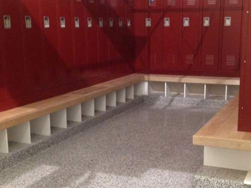 stontec erf flooring in locker room